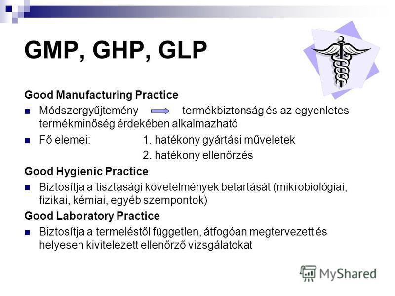 GMP, GHP, GLP Good Manufacturing Practice Módszergyűjteménytermékbiztonság és az egyenletes termékminőség érdekében alkalmazható Fő elemei:1. hatékony gyártási műveletek 2. hatékony ellenőrzés Good Hygienic Practice Biztosítja a tisztasági követelmén