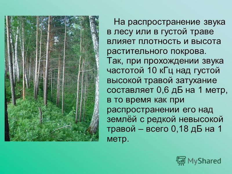 На распространение звука в лесу или в густой траве влияет плотность и высота растительного покрова. Так, при прохождении звука частотой 10 к Гц над густой высокой травой затухание составляет 0,6 дБ на 1 метр, в то время как при распространении его на