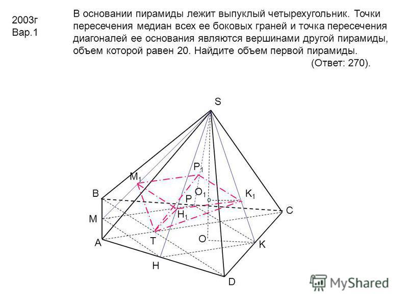 А D С В S O T K K1K1 O1O1 M1M1 H1H1 H P P1P1 M В основании пирамиды лежит выпуклый четырехугольник. Точки пересечения медиан всех ее боковых граней и точка пересечения диагоналей ее основания являются вершинами другой пирамиды, объем которой равен 20