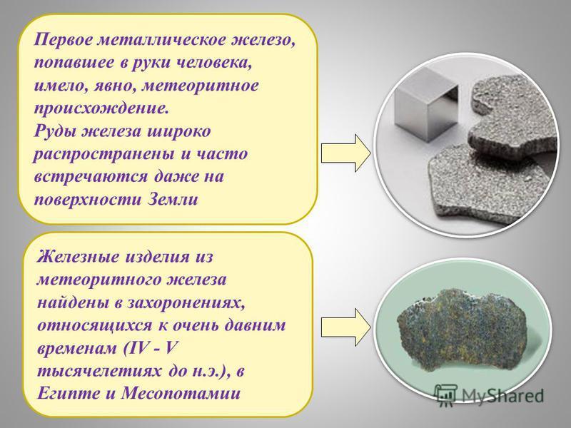 Первое металлическое железо, попавшее в руки человека, имело, явно, метеоритное происхождение. Руды железа широко распространены и часто встречаются даже на поверхности Земли Железные изделия из метеоритного железа найдены в захоронениях, относящихся