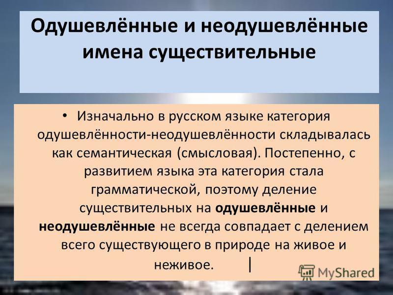 Одушевлённые и неодушевлённые имена существительные Изначально в русском языке категория одушевлённости-неодушевлённости складывалась как семантическая (смысловая). Постепенно, с развитием языка эта категория стала грамматической, поэтому деление сущ