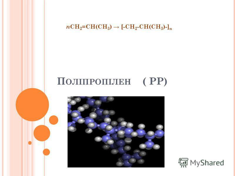 П ОЛІПРОПІЛЕН ( РР) n CH 2 =CH(CH 3 ) [-CH 2 -CH(CH 3 )-] n