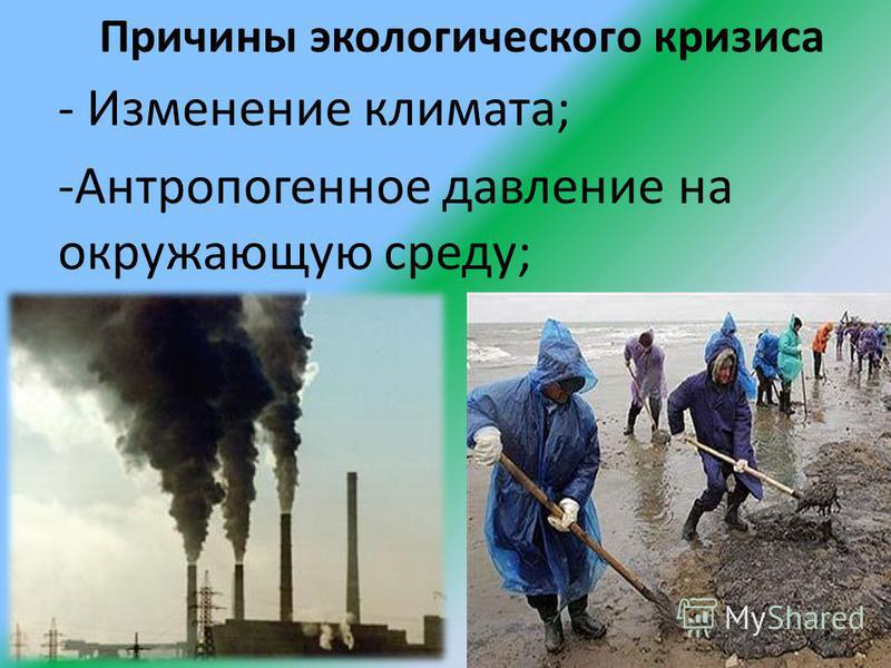 Причины экологического кризиса - Изменение климата; -Антропогенное давление на окружающую среду;