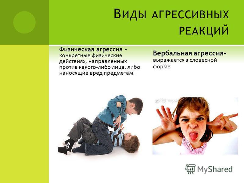 В ИДЫ АГРЕССИВНЫХ РЕАКЦИЙ Физическая агрессия – конкретные физические действиях, направленных против какого-либо лица, либо наносящие вред предметам. Вербальная агрессия- выражается в словесной форме
