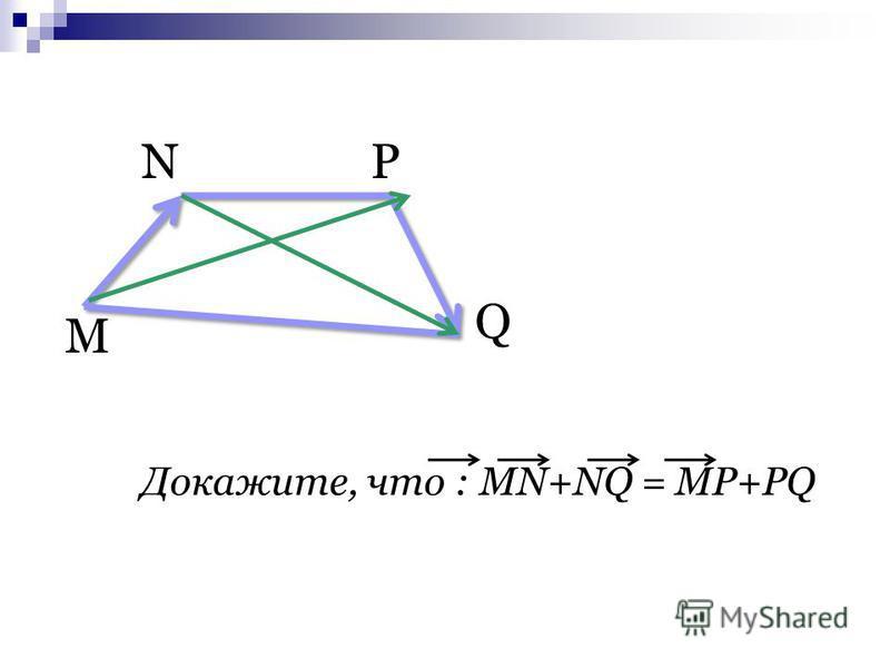 М NP Q Докажите, что : MN+NQ = MP+PQ