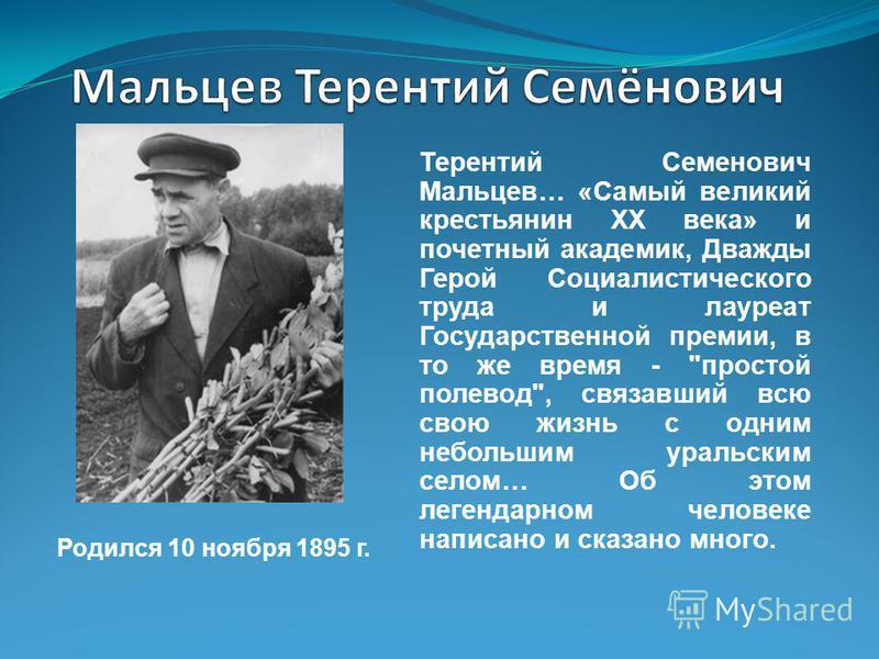 Терентий Семенович Мальцев… «Самый великий крестьянин XX века» и почетный академик, Дважды Герой Социалистического труда и лауреат Государственной премии, в то же время -