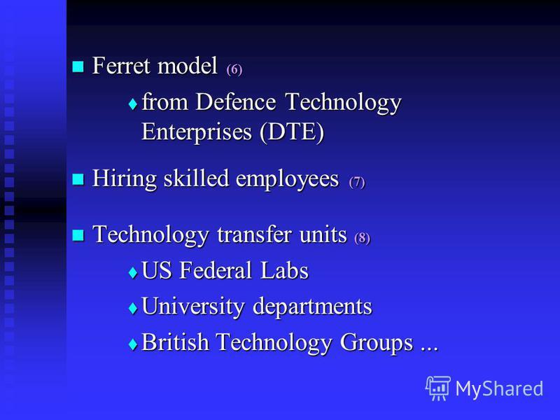 Ferret model (6) Ferret model (6) from Defence Technology Enterprises (DTE) from Defence Technology Enterprises (DTE) Hiring skilled employees (7) Hiring skilled employees (7) Technology transfer units (8) Technology transfer units (8) US Federal Lab