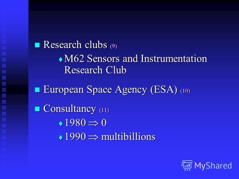 Research clubs (9) Research clubs (9) M62 Sensors and Instrumentation Research Club M62 Sensors and Instrumentation Research Club European Space Agency (ESA) (10) European Space Agency (ESA) (10) Consultancy (11) Consultancy (11) 1980 0 1980 0 1990 m