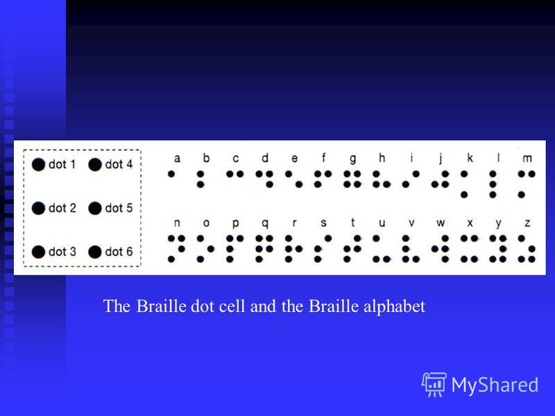 The Braille dot cell and the Braille alphabet