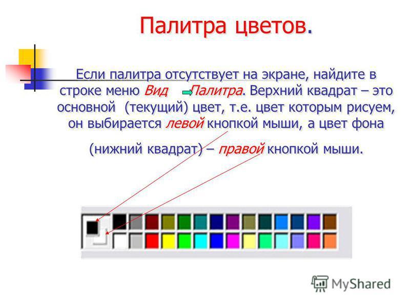 Палитра цветов. Если палитра отсутствует на экране, найдите в строке меню Вид Палитра. Верхний квадрат – это основной (текущий) цвет, т.е. цвет которым рисуем, он выбирается левой кнопкой мыши, а цвет фона (нижний квадрат) – правой кнопкой мыши. Пали