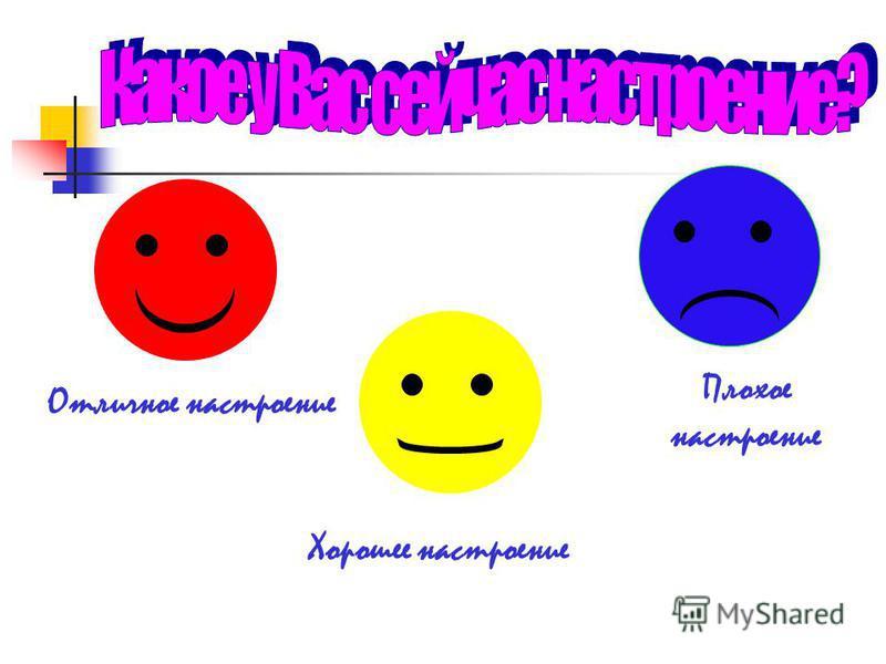 Плохое настроение Хорошее настроение Отличное настроение