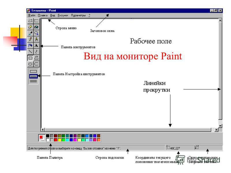 Вид на мониторе Paint