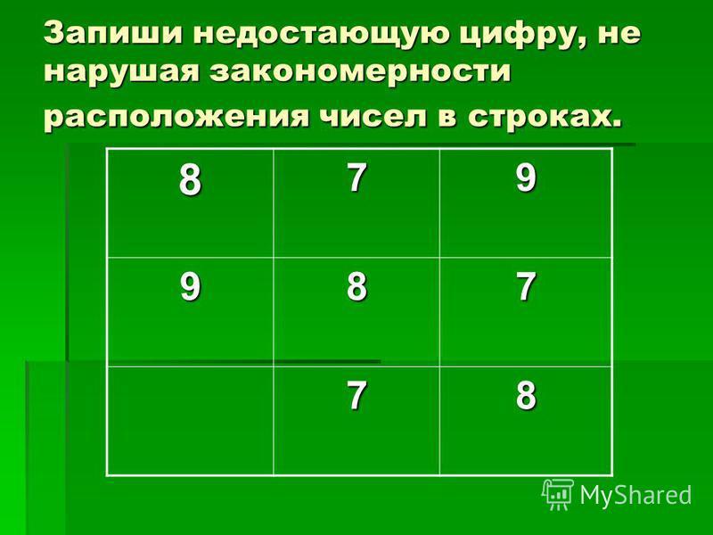Запиши недостающую цифру, не нарушая закономерности расположения чисел в строках. 879 987 78