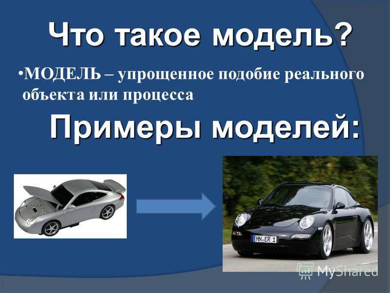 Что такое модель? МОДЕЛЬ – упрощенное подобие реального объекта или процесса Примеры моделей:
