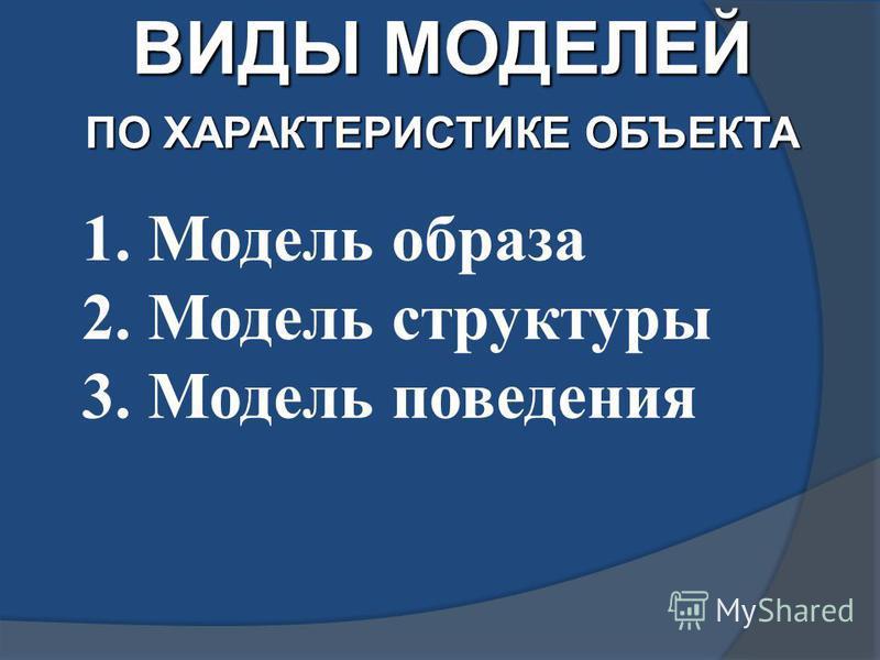 ВИДЫ МОДЕЛЕЙ ПО ХАРАКТЕРИСТИКЕ ОБЪЕКТА 1. Модель образа 2. Модель структуры 3. Модель поведения