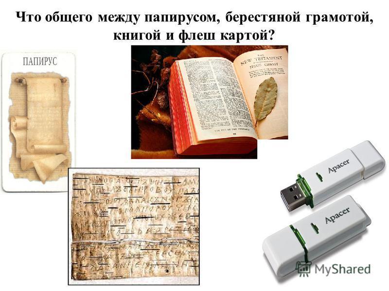 Что общего между папирусом, берестяной грамотой, книгой и флеш картой?