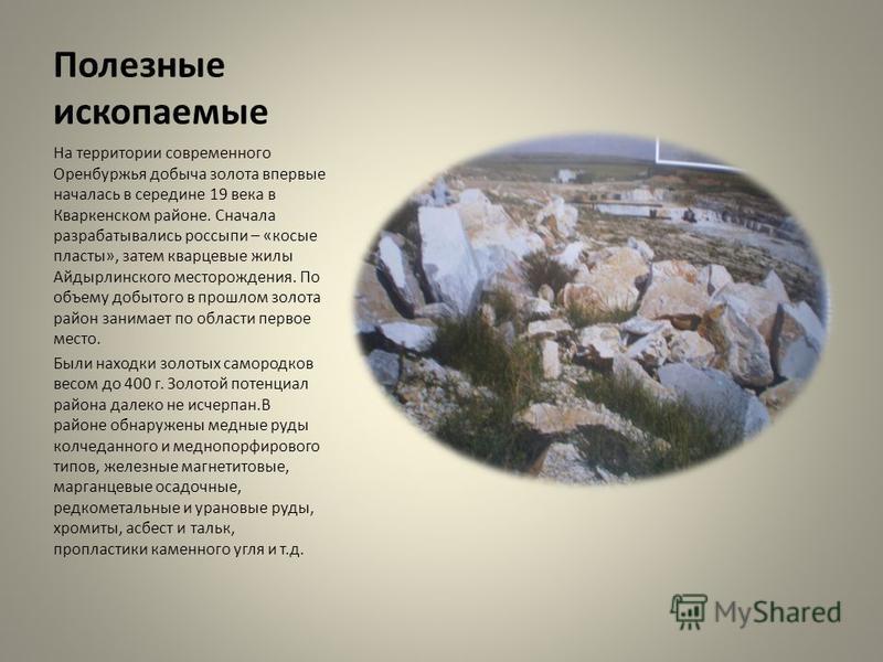 Полезные ископаемые На территории современного Оренбуржья добыча золота впервые началась в середине 19 века в Кваркенском районе. Сначала разрабатывались россыпи – «косые пласты», затем кварцевые жилы Айдырлинского месторождения. По объему добытого в