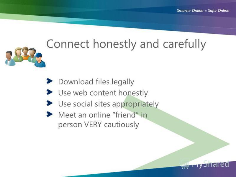 Connect honestly and carefully Download files legally Use web content honestly Use social sites appropriately Meet an online friend in person VERY cautiously
