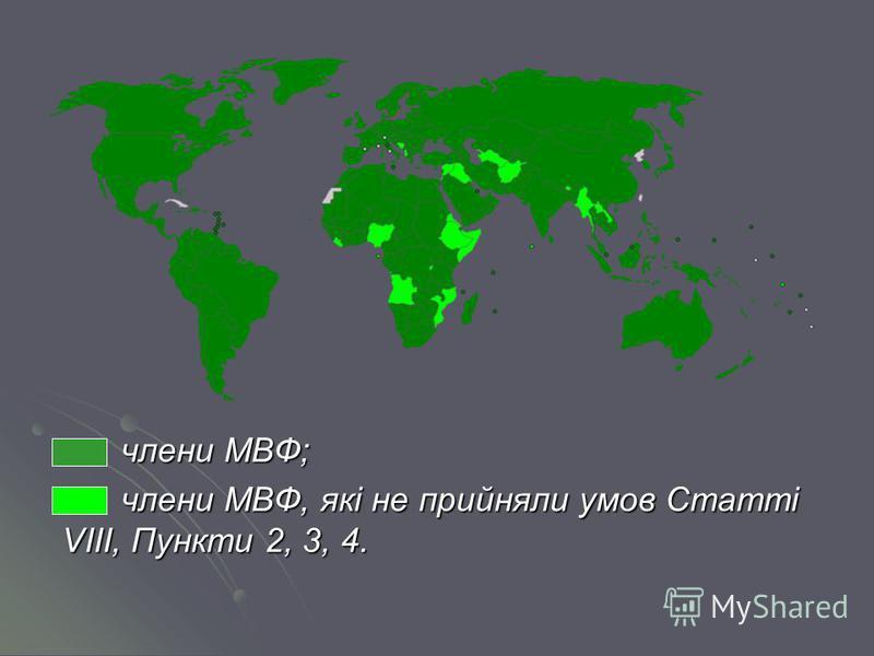 члени МВФ; члени МВФ, які не прийняли умов Статті VIII, Пункти 2, 3, 4.