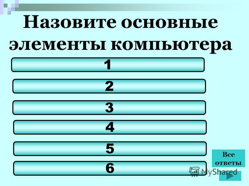 Назовите основные элементы компьютера 2 3 4 5 1 6 Все ответы