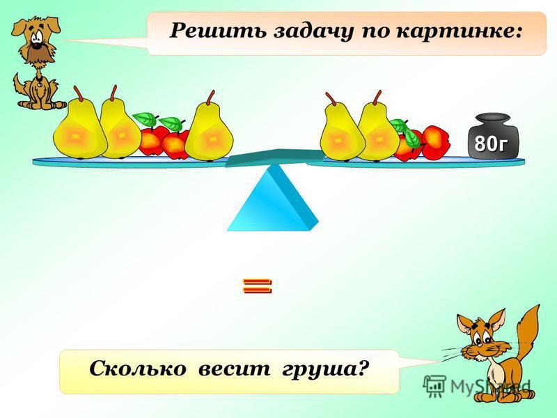 Решить задачу по картинке: 80 г 80 г Сколько весит груша?