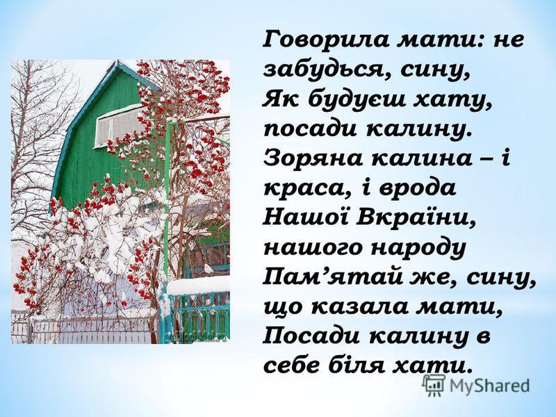 Говорила мати: не забудься, сину, Як будуєш хату, посади калину. Зоряна калина – і краса, і врода Нашої Вкраїни, нашого народу Памятай же, сину, що казала мати, Посади калину в себе біля хати.