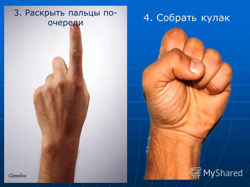 3. Раскрыть пальцы по- очереди 4. Собрать кулак