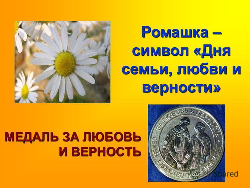 Ромашка – символ «Дня семьи, любви и верности» МЕДАЛЬ ЗА ЛЮБОВЬ И ВЕРНОСТЬ