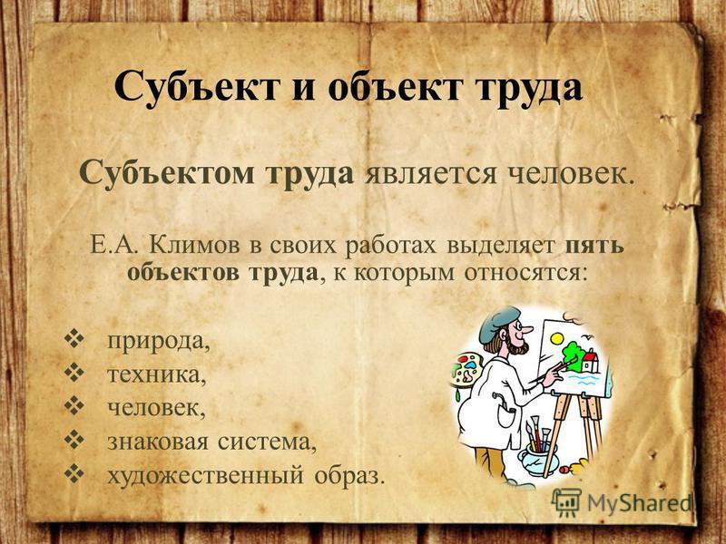 Субъектом труда является человек. Е.А. Климов в своих работах выделяет пять объектов труда, к которым относятся: природа, техника, человек, знаковая система, художественный образ. Субъект и объект труда