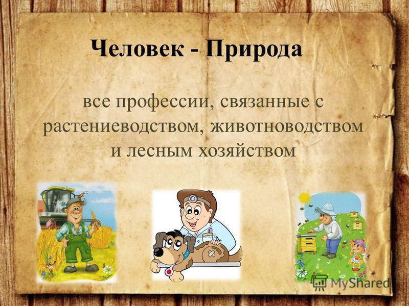 все профессии, связанные с растениеводством, животноводством и лесным хозяйством Человек - Природа