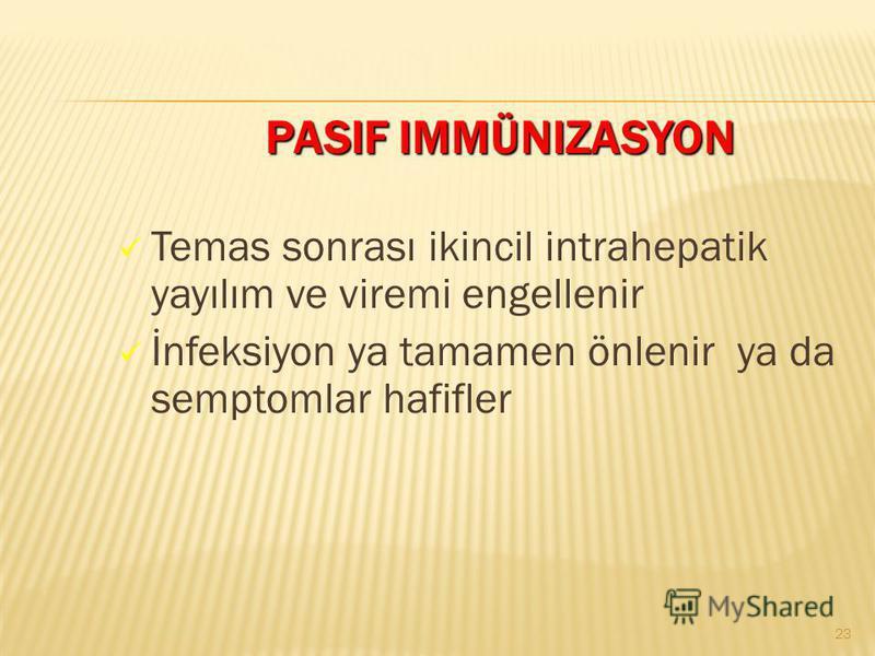 PASIF IMMÜNIZASYON PASIF IMMÜNIZASYON Temas sonrası ikincil intrahepatik yayılım ve viremi engellenir İnfeksiyon ya tamamen önlenir ya da semptomlar hafifler 23