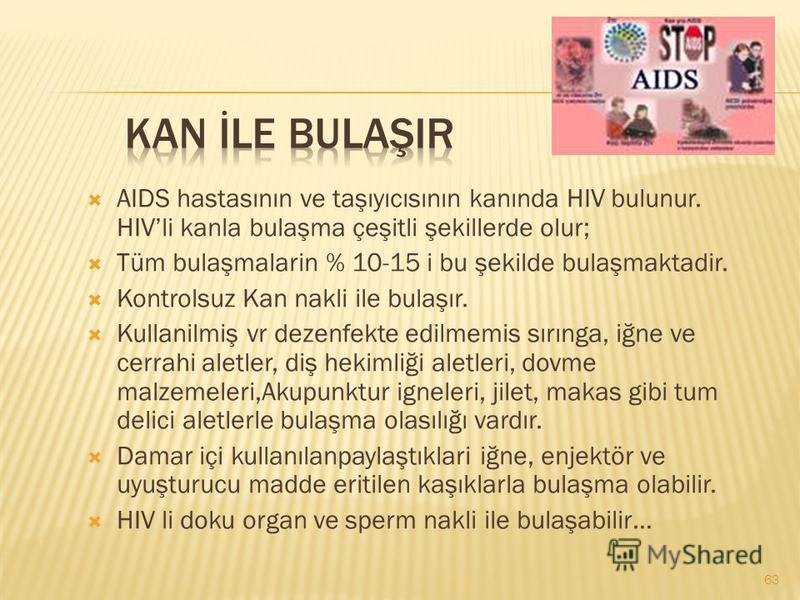 AIDS hastasının ve taşıyıcısının kanında HIV bulunur. HIVli kanla bulaşma çeşitli şekillerde olur; Tüm bulaşmalarin % 10-15 i bu şekilde bulaşmaktadir. Kontrolsuz Kan nakli ile bulaşır. Kullanilmiş vr dezenfekte edilmemis sırınga, iğne ve cerrahi ale