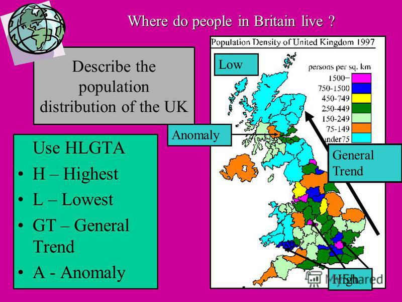Describe the population distribution of the UK Use HLGTA H – Highest L – Lowest GT – General Trend A - Anomaly High Low Anomaly General Trend Where do people in Britain live ?