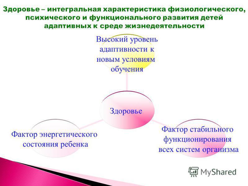 Здоровье Высокий уровень адаптивности к новым условиям обучения Фактор стабильного функционирования всех систем организма Фактор энергетического состояния ребенка