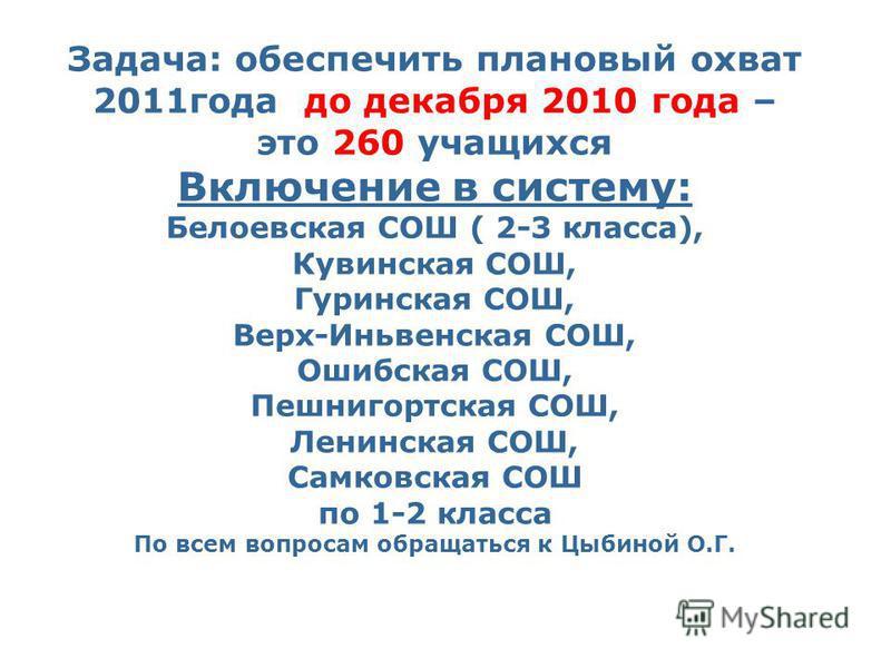 Задача: обеспечить плановый охват 2011 года до декабря 2010 года – это 260 учащихся Включение в систему: Белоевская СОШ ( 2-3 класса), Кувинская СОШ, Гуринская СОШ, Верх-Иньвенская СОШ, Ошибская СОШ, Пешнигортская СОШ, Ленинская СОШ, Самковская СОШ п