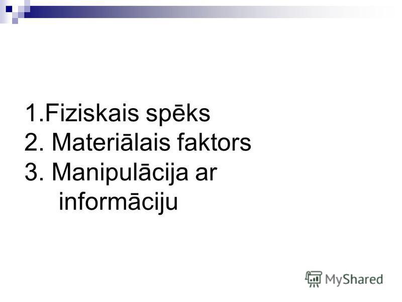 1.Fiziskais spēks 2. Materiālais faktors 3. Manipulācija ar informāciju