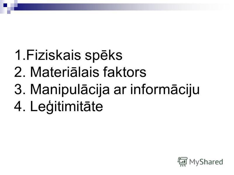 1.Fiziskais spēks 2. Materiālais faktors 3. Manipulācija ar informāciju 4. Leģitimitāte