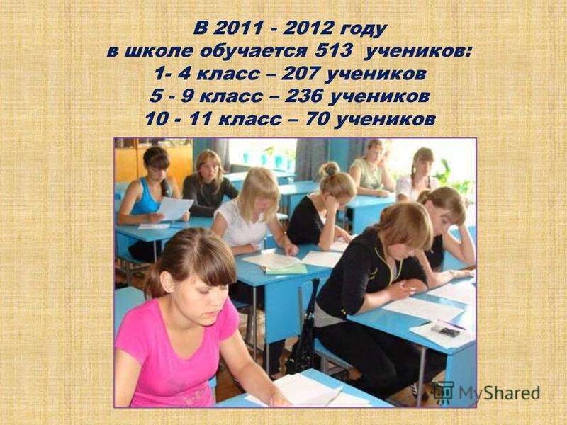 В 2011 - 2012 году в школе обучается 513 учеников: 1- 4 класс – 207 учеников 5 - 9 класс – 236 учеников 10 - 11 класс – 70 учеников