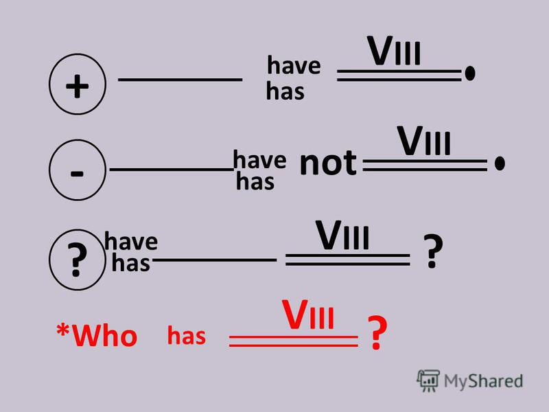+ V III - not ? ? *Who V III ? have has have V III has