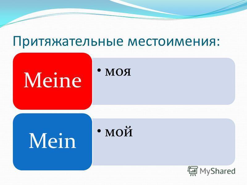 Притяжательные местоимения: моя Meine мой Mein