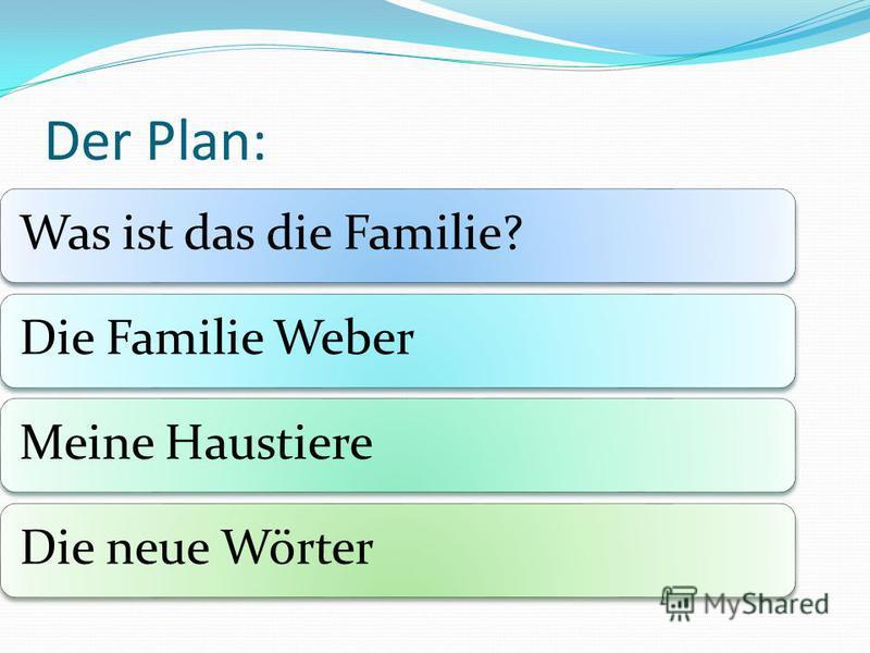 Der Plan: Was ist das die Familie?Die Familie WeberMeine HaustiereDie neue Wörter