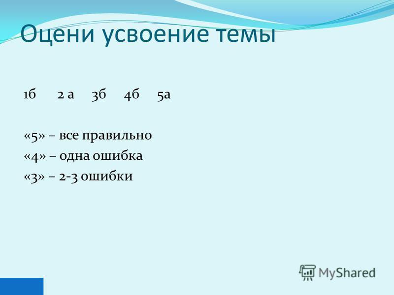 Оцени усвоение темы 1 б 2 а 3 б 4 б 5 а «5» – все правильно «4» – одна ошибка «3» – 2-3 ошибки