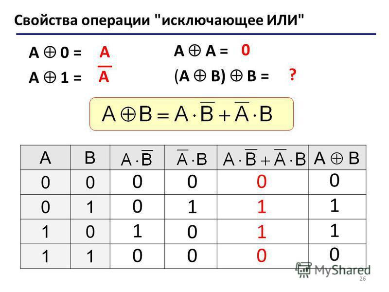 26 A A = (A B) B = Свойства операции исключающее ИЛИ A 0 = A 1 = A 0 ? AB А B 00 01 10 11 0 0 1 0 0 1 0 0 0 1 1 0 0 1 1 0 A