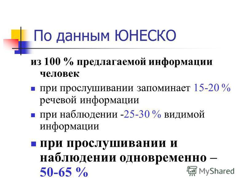 По даннмы ЮНЕСКО из 100 % предлагаемой информации человек при прослушивании запоминает 15-20 % речевой информации при наблюдении -25-30 % видимой информации при прослушивании и наблюдении одновременно – 50-65 %