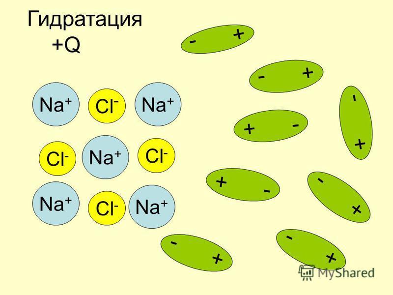 Na + Cl - Na + + - Гидратация +Q