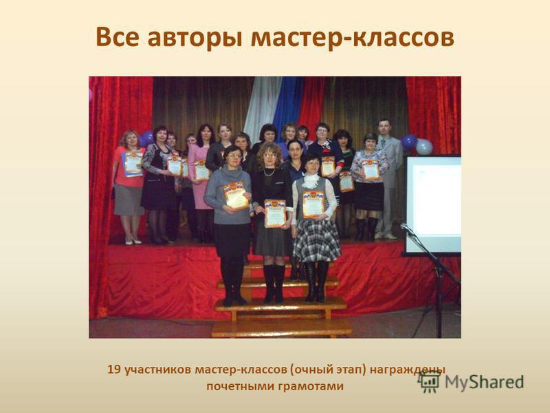 Все авторы мастер-классов 19 участников мастер-классов (очный этап) награждены почетными грамотами