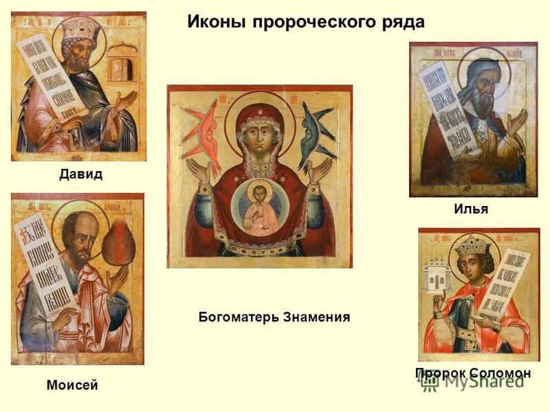 Богоматерь Знамения Иконы пророческого ряда Илья Пророк Соломон Давид Моисей