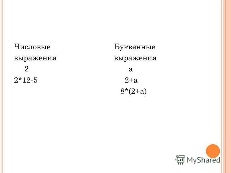 Числовые Буквенные выражения 2 а 2*12-5 2+а 8*(2+а)