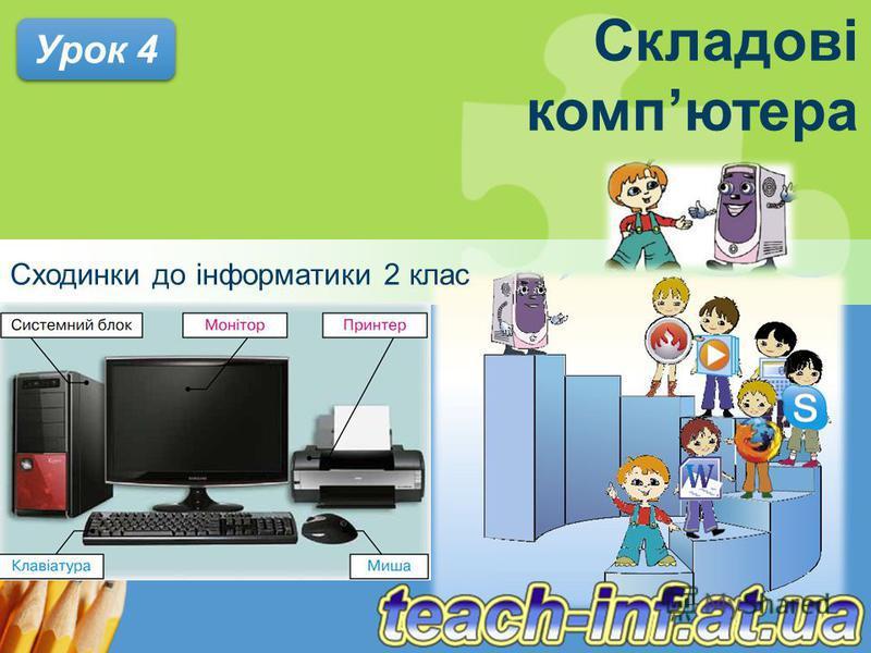 Складові компютера Сходинки до інформатики 2 клас Урок 4