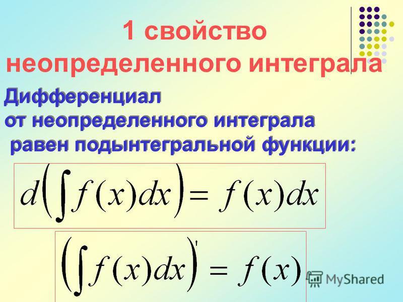 1 свойство неопределенного интеграла Дифференциал от неопределенного интеграла равен подынтегральной функции: Дифференциал от неопределенного интеграла равен подынтегральной функции: